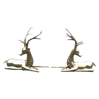 MCM Life Size Brass 70's Resting Stags Gazelles