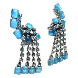 Coro Blue Rhinestone Dangle Earrings