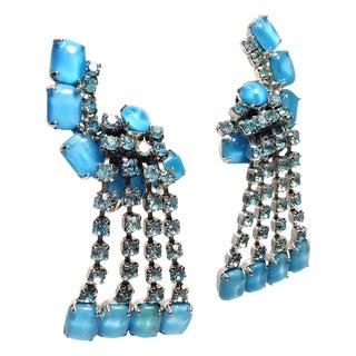 Coro Blue Rhinestone Dangle Earrings