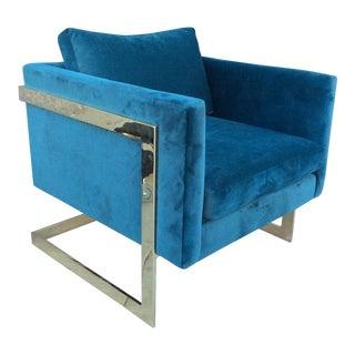 Milo Baughman Style Brass Velvet Lounge Chair