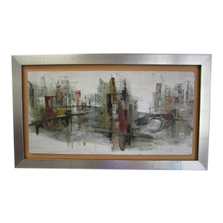 1950's Abstract Painting of a City