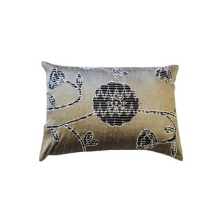 Silk Floral Appliqué Pillow Cover