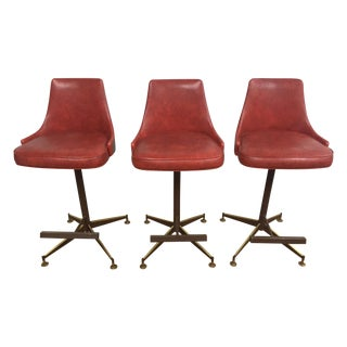 Mid-Century Red Vinyl Bar Stools - Set of 3
