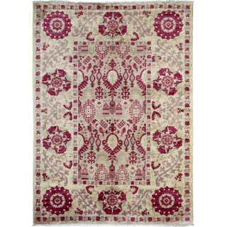 """Pink Suzani Hand-Knotted Rug - 6'1"""" x 8'7"""""""
