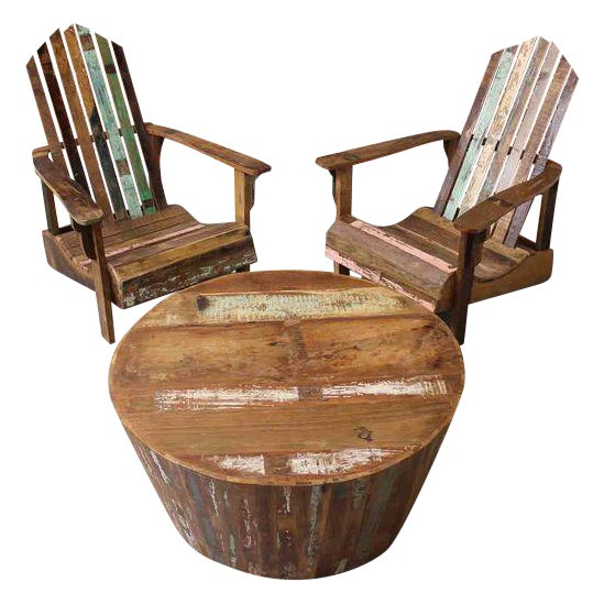 Reclaimed wood adirondack chairs table set chairish for Buy reclaimed wood los angeles