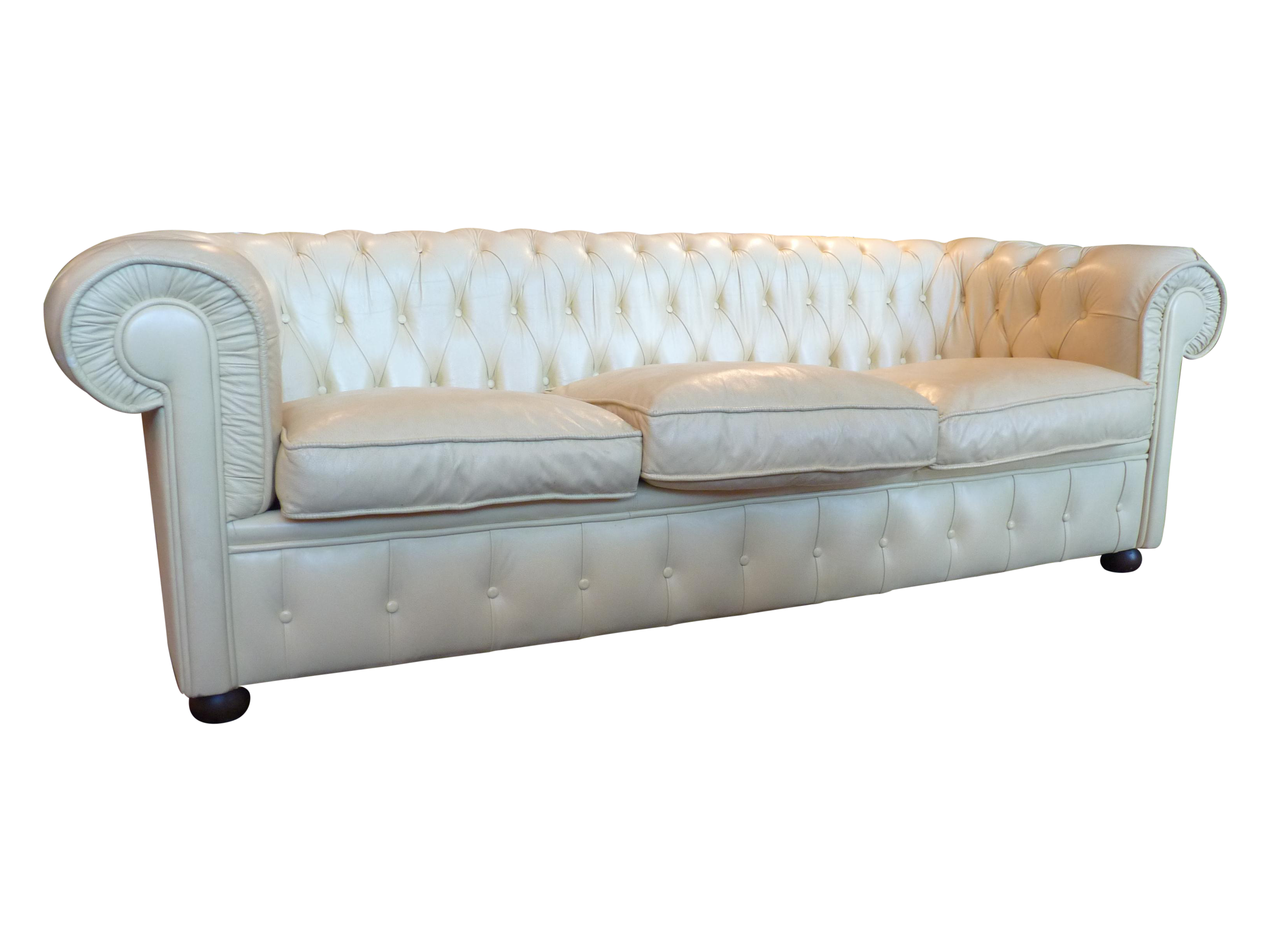 Pale Yellow Leather Chesterfield Sofa Chairish