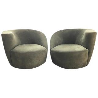 Vladimir Kagan Olive Green Nautilus Swivel Chairs - a Pair
