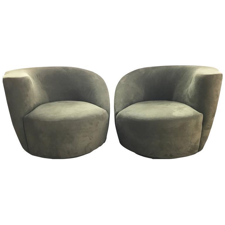 Vladimir Kagan Olive Green Nautilus Swivel Chairs   A Pair