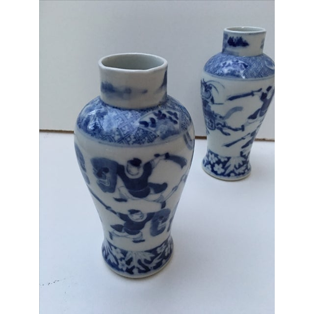 Image of Antique Blue & White Samurai Vases - A Pair