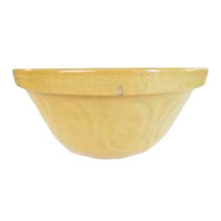 Vintage Yellow Stoneware Earthenware Farmhouse Round Bowl
