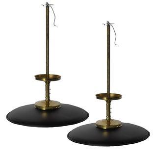 Classic Black & Brass Pendants - A Pair
