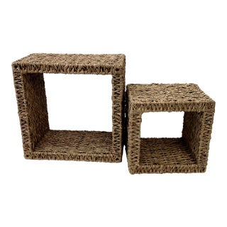 Sea Grass Shadow Box Shelves - a Pair