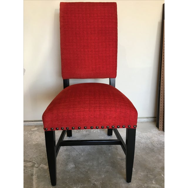 Transitional Red Chenille Dining Chairs - Set of 4 - Image 8 of 11