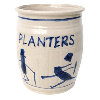 Stoneware Crock Planters Peanuts Advertising