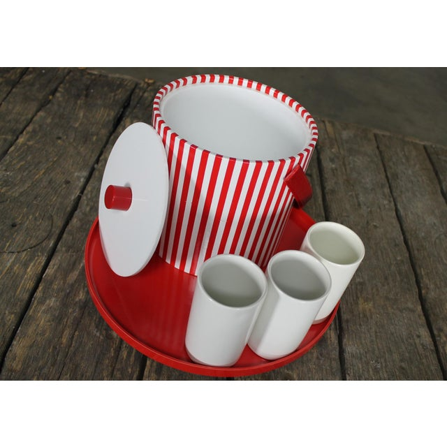 Mid-Century Red & White Ice Bucket, Tumblers and Tray Beverage Set - Image 5 of 11