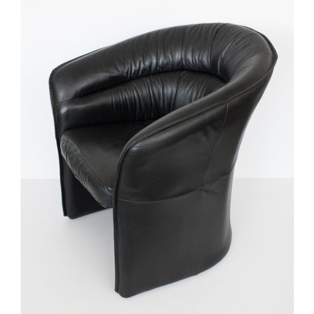 Image of Modern Black Faux Leather Armchair