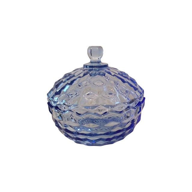 Vintage Blue Glass Lidded Candy Dish - Image 1 of 3