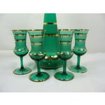 Image of Czech Bohemian Green Decanter With 4 Glasses