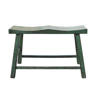 Distressed Rustic Green Lacquer Double Seat Bench