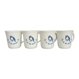 Vintage Blue & White Coffee Cups - Set of 4