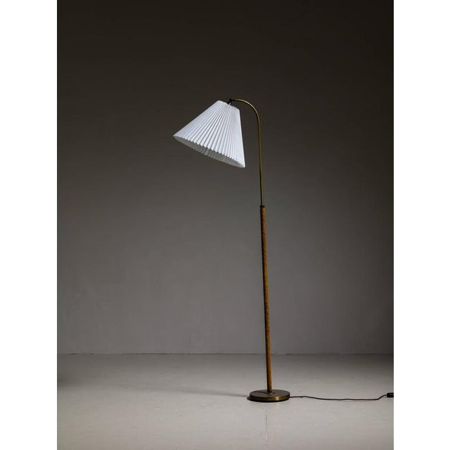 Danish Brass with Woven Leather Height-Adjustable Floor Lamp, 1930s - Image 2 of 4