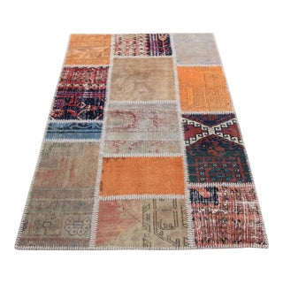 Turkish Vintage Overdyed Patchwork Oushak Rug - 3′4″ × 5′2″