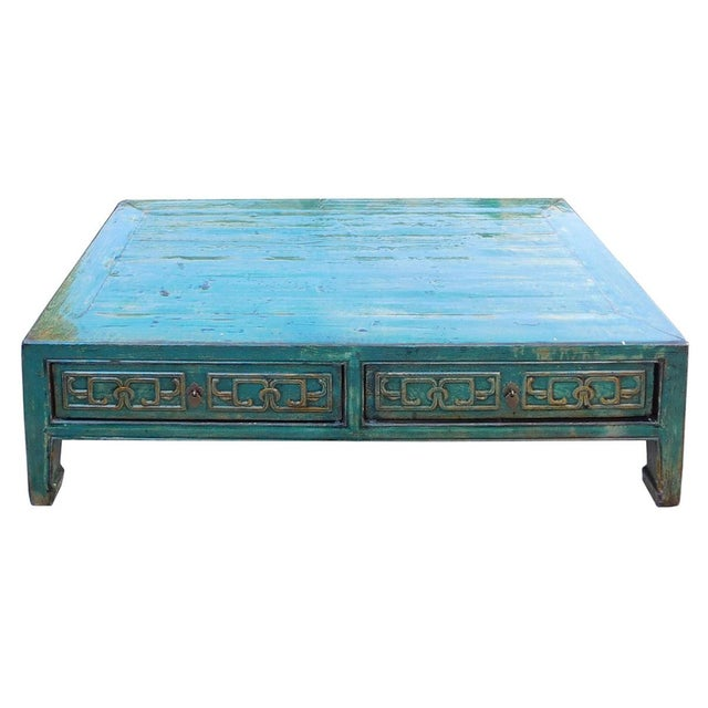 Emporium Home Waverley White Gloss Coffee Table: Chinese Coffee Table In Distressed Blue Lacquer