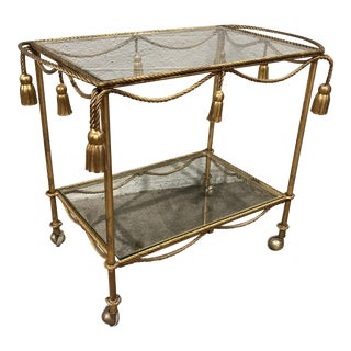 Hollywood Regency Gilt Tassel Bar Cart