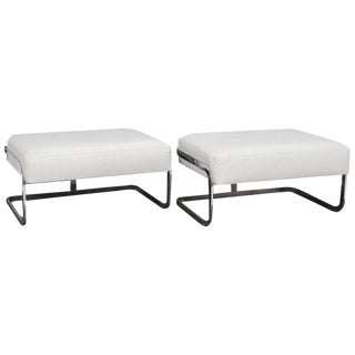 Milo Baughman Style White Leather & Chrome Benches - A Pair