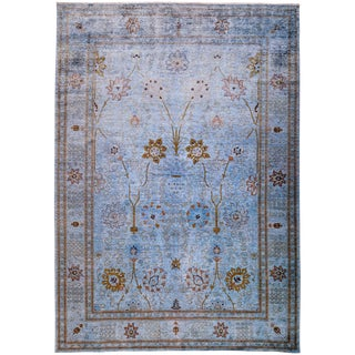Vibrance, Hand Knotted Purple Floral Wool Area Rug - 10' X 14' 2""