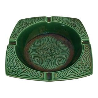 Mid-Century Emerald Green Ceramic Ashtray