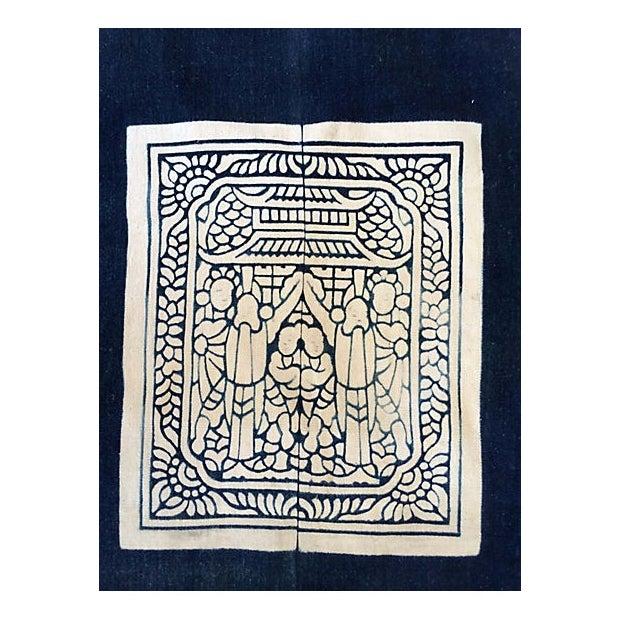 Hand-Blocked Chinese Indigo Story Panel Textile - Image 5 of 5