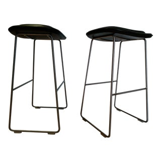 Jasper Morrison for Cappellini Black Leather Seats Hi-Pad Stools - A Pair