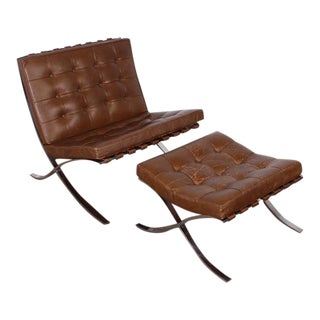 Barcelona Chair and Ottoman by Mies van der Rohe for Knoll