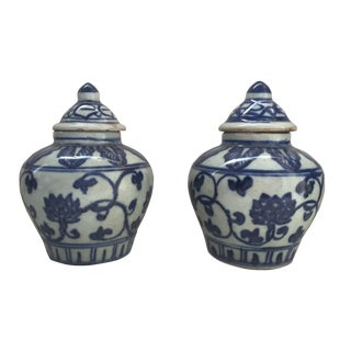 Chinese Blue & White Porcelain Jars - A Pair