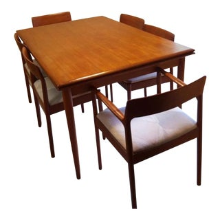 Teak Dining Room Table & Chairs - Set of 7
