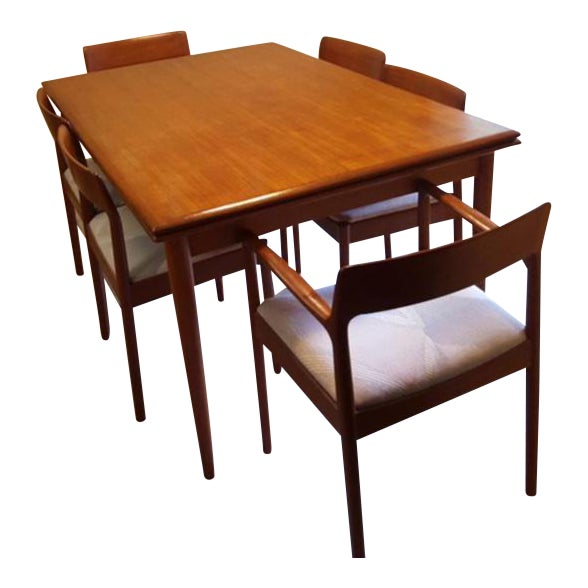 Teak Dining Room Table & Chairs - Set of 7 - Image 1 of 7