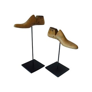 Vintage Wood Shoe Molds - Pair