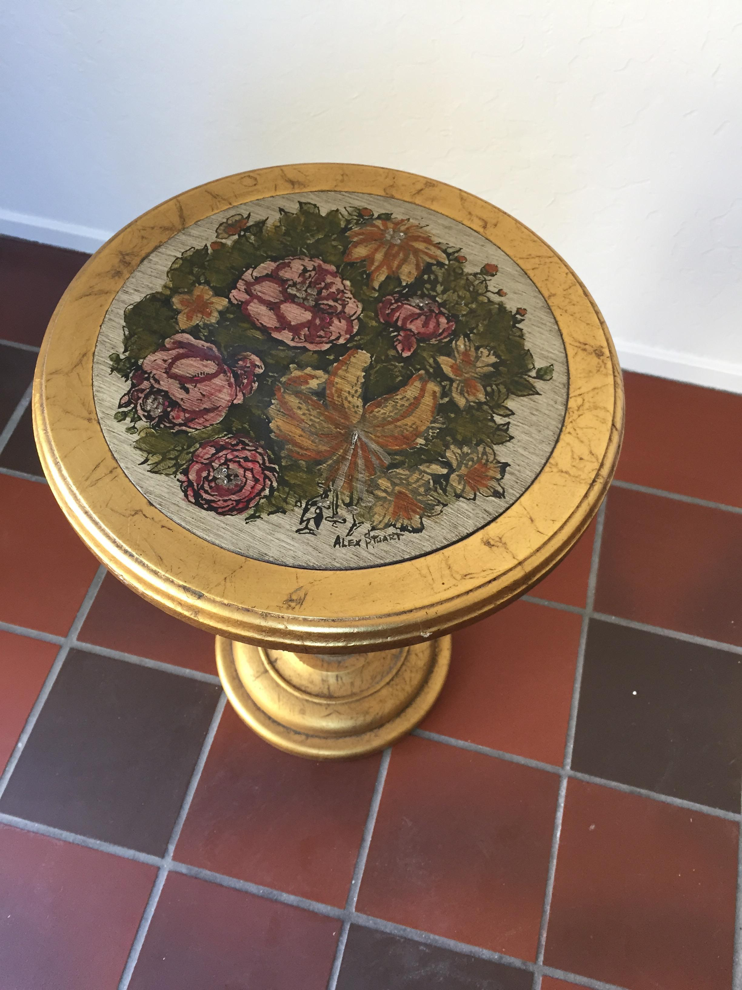 Vintage Gold Floral Accent Table, Hand Painted And Signed By Alex Stuart  Design   Image