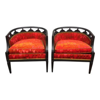 Black Wood Lounge Chairs - A Pair