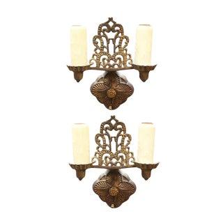 Bronze Art Deco Sconces - A Pair