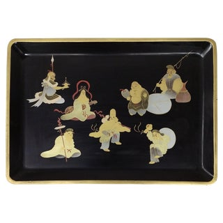 Japanese Lacquer-Ware Gold Painted Tray