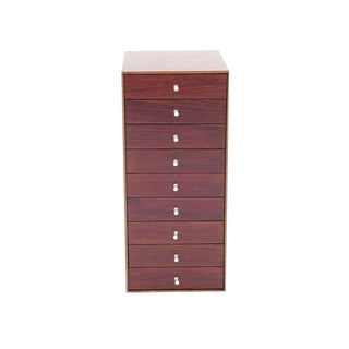 Rare Rosewood and Teak George Nelson, Thin Edge Nine-Drawer Jewelry Chest, 1954