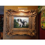 Image of Oil Portrait King Charles Spaniel With Gold Frame