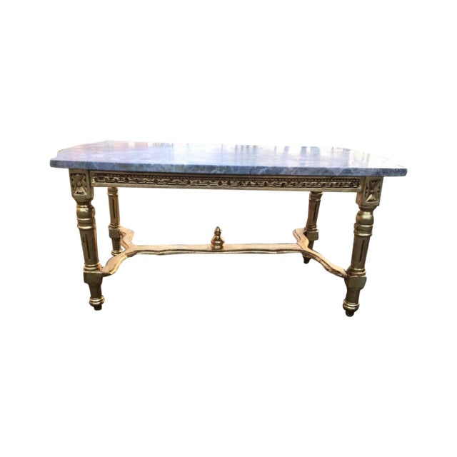 Louis XVI Gold Wood & Marble Top Coffee Table