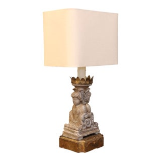 Custom Table Lamp from Unusual Carved Portuguese Candlestick