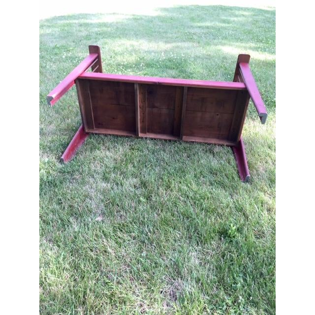 Spindle-Back Red Bench - Image 8 of 11
