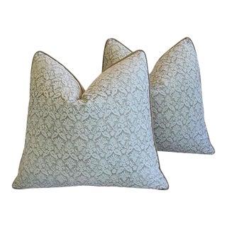 "22"" Custom Tailored Italian Fortuny Delfino Feather & Down Pillows - a Pair"