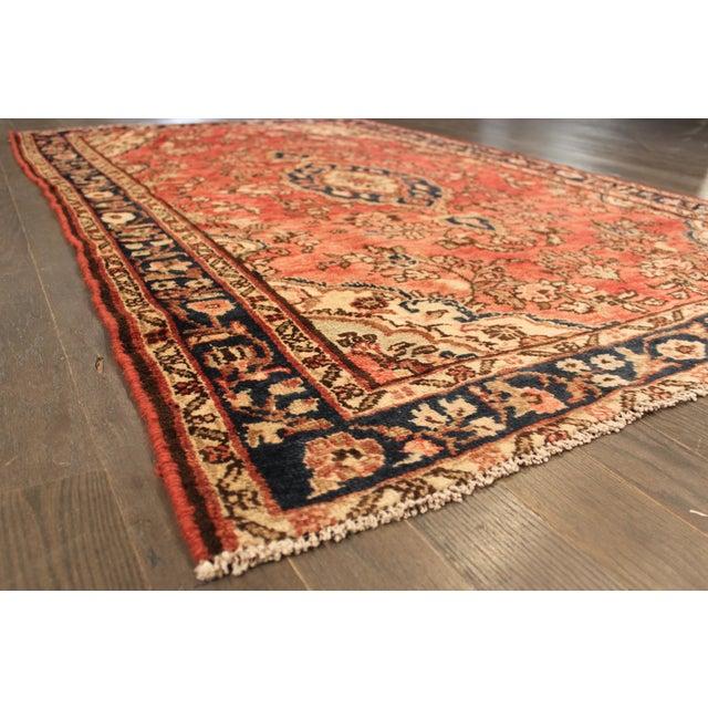 "Vintage Red & Blue Persian Wool Rug - 4'1"" X 6'8"" - Image 3 of 4"