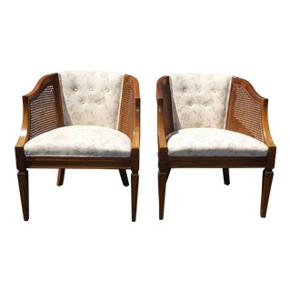 Vintage Wood & Cane White Club Chairs